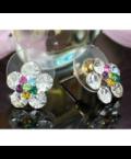 Swarovski kristályos fülbevaló szines virág
