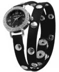 Extravagáns fekete színű női karóra szegecsekkel EX18332EX