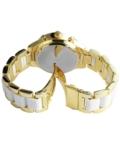 Extravagáns arany-fehér fémszíjas női karóra strasszokkal EX18369EX
