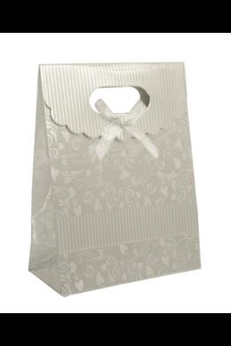 Elegáns ezüst színű ajándéktasak masnival AT919