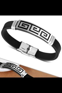 Fekete kaucsuk karkötő, ezüst színű, görög mintás nemesacél dísszel
