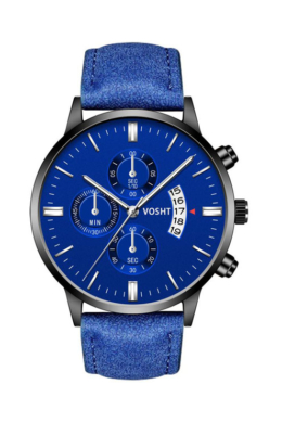 Vosht Perfect Style kék designbőr szíjas férfi karóra dátumkijelzővel VO8402KL