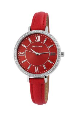 Excellanc Crown piros női karóra strasszokkal EX189198TR