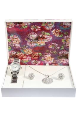 Excellanc Exclusive ezüst színű ajándékszett órával, nyaklánccal és fülbevalóval EX189122EL