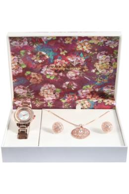 Excellanc Exclusive rózsaarany színű ajándékszett órával, nyaklánccal és fülbevalóval EX189121EL