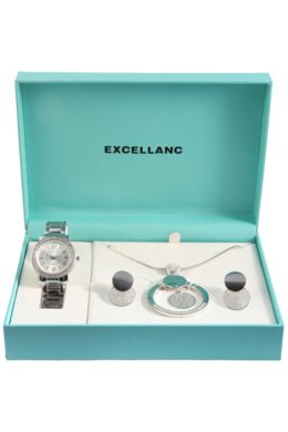 Excellanc Exclusive ezüst színű ajándékszett órával, nyaklánccal és fülbevalóval EX189110EL