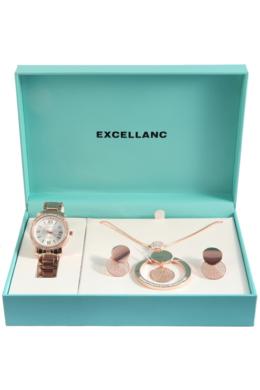 Excellanc Exclusive rózsaarany színű ajándékszett órával, nyaklánccal és fülbevalóval EX189111EL