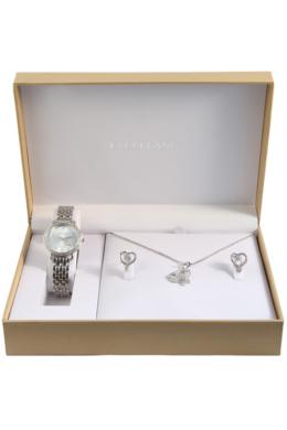 Excellanc Exclusive ezüst színű szívecskés ajándékszett órával, nyaklánccal és fülbevalóval EX189113EL