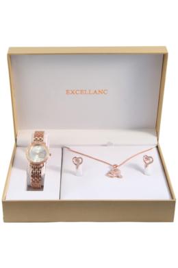 Excellanc Exclusive rózsaarany színű szívecskés ajándékszett órával, nyaklánccal és fülbevalóval EX189115EL