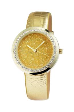 Excellanc gold shine arany színű, csillogó designbőr szíjas női karóra EX181055EX