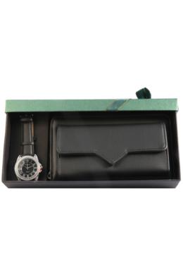 Excellanc Present fekete színű divatóra fekete műbőr kistáskával, ajándékdobozban EX189128TR