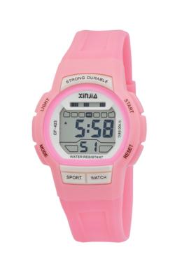 Xinjia digitális rózsaszín női sportóra stopperral, ébresztővel XI2503DG