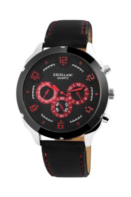 Excellanc Cool fekete férfi karóra bordó színű chronográph-fal EX181047CH