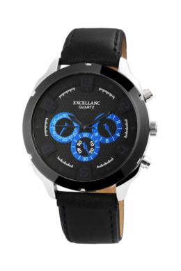 Excellanc Cool fekete férfi karóra kék chronográph-fal EX181045CH