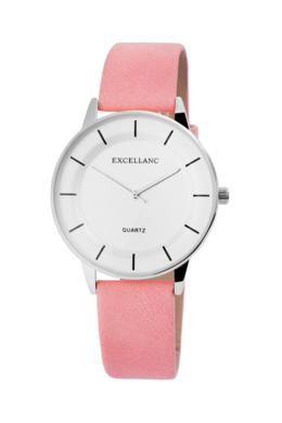 Minimalista Excellanc rózsaszín designbőr szíjas női karóra EX18968TR