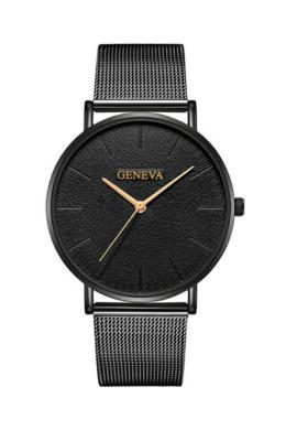 Geneva Life Black fémszíjas női karóra rózsaarany mutatókkal GE15085EX