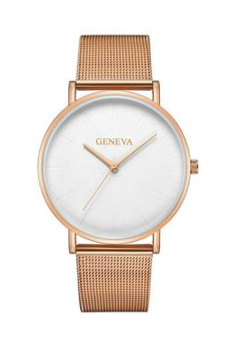 Geneva Life Rosegold-White fémszíjas női karóra GE15089EX