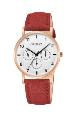 Geneva Brushed piros designbőr szíjas női karóra GE15099TR