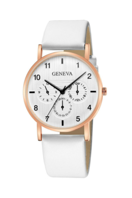 Geneva Brushed fehér designbőr szíjas női karóra GE15101TR