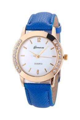 Kecses kék Geneva női karóra strasszokkal GE15043TR