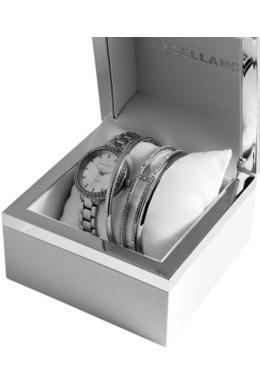 Excellanc Armlet Chick ezüst színű strasszos karóra ajándékszett karkötőkkel EX189161EL