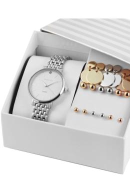 Excellanc Aerial ezüst színű strasszos ajándékszett 9 pár fülbevalóval EX189156EL