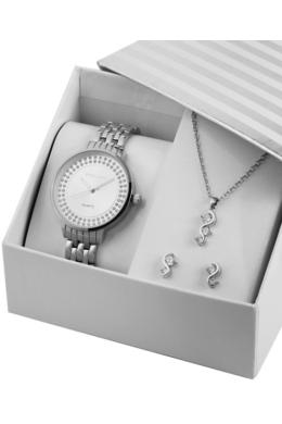 Excellanc SeaHorse ezüst színű strasszos karóra ajándékszett fülbevalóval és nyaklánccal EX189167EL