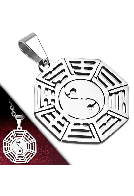 Ezüst színű, nyolc szögletes nemesacél medál Yin-Yang mintával