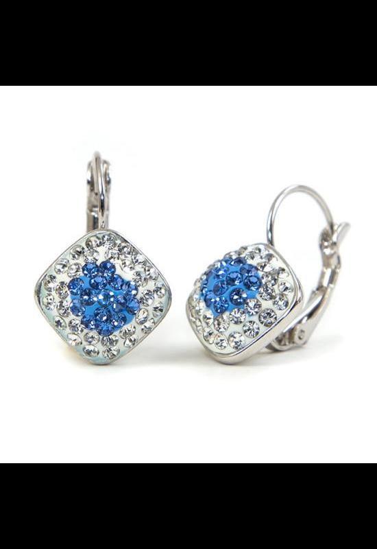 Swarovski kristályos fülbevaló Kék négyzet