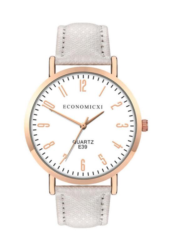 EconomicXI Modern női karóra texturált fehér szíjjal EC8001TR