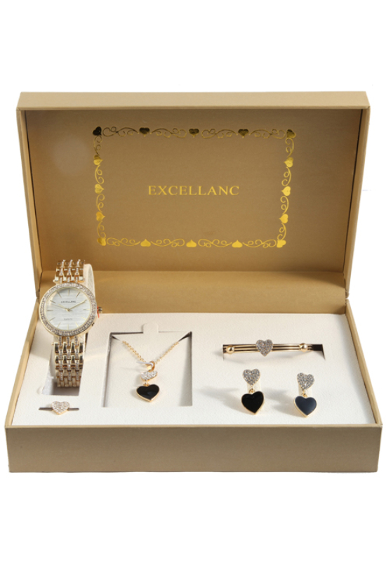 Excellanc Exclusive arany színű strasszos ajándékszett órával, nyaklánccal, karkötővel, gyűrűvel és fülbevalóval EX189118EL