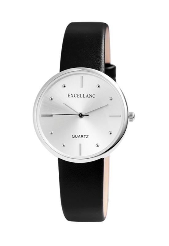 Excellanc fekete színű designbőr szíjas női karóra EX189078EL