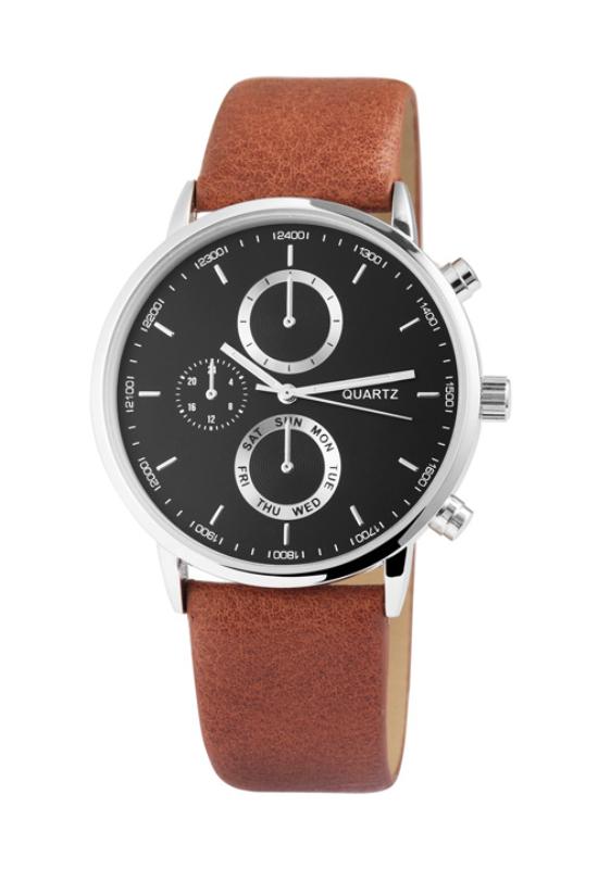 Excellanc Style barna férfi karóra EZÜST színű chronográph-okkal EX181054CH