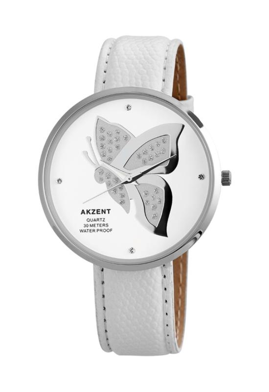 Trendi fehér pillangós Akzent női karóra AK19000TR