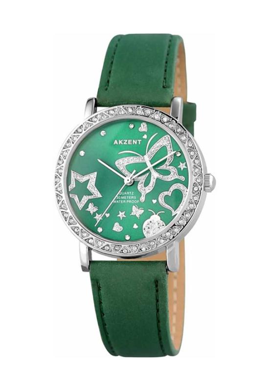 Trendi Akzent zöld női karóra pillangóval AK1972TR