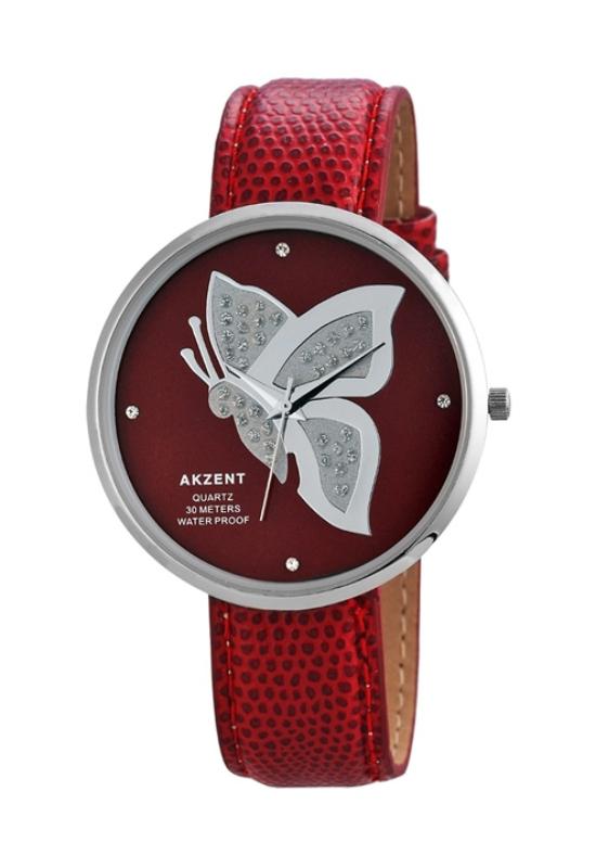 Trendi piros pillangós Akzent női karóra AK1997TR