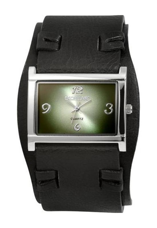 Trendi fekete Excellanc karóra designbőr szíjjal EX17161RE