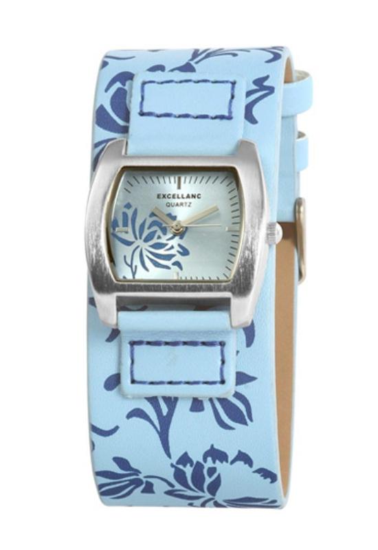 Trendi kék Excellanc női karóra virággal EX17367TR