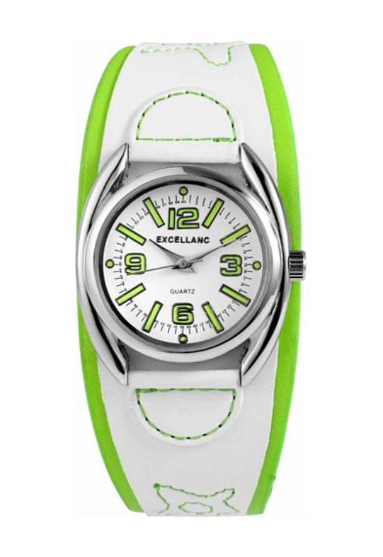 Extravagáns fehér-zöld Excellanc karóra EX17775EX