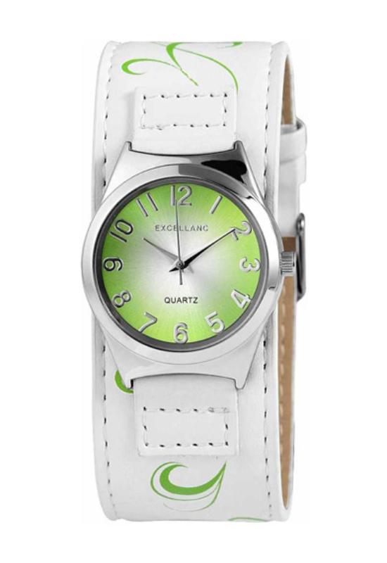 Trendi fehér Excellanc női karóra zöld virággal EX17820TR