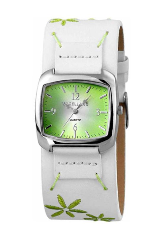 Trendi fehér Excellanc női óra zöld virággal EX17847TR