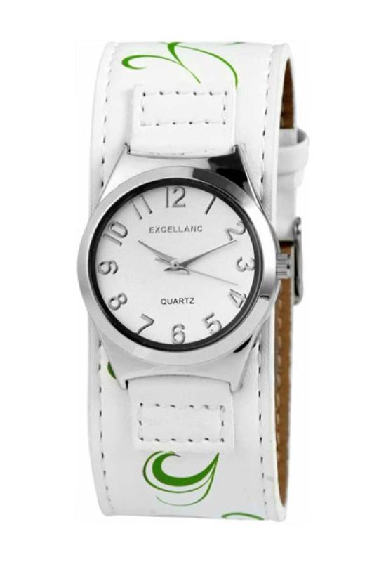 Trendi fehér Excellanc női karóra zöld virággal EX17850TR