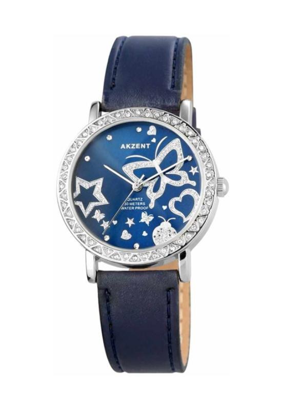 Trendi Excellanc kék női karóra pillangóval EX17920TR