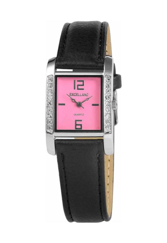 Trendi fekete Excellanc karóra pink számlappal EX18084TR