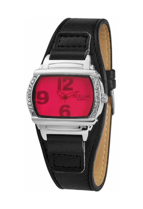 Trendi fekete Excellanc karóra pink számlappal EX18105TR