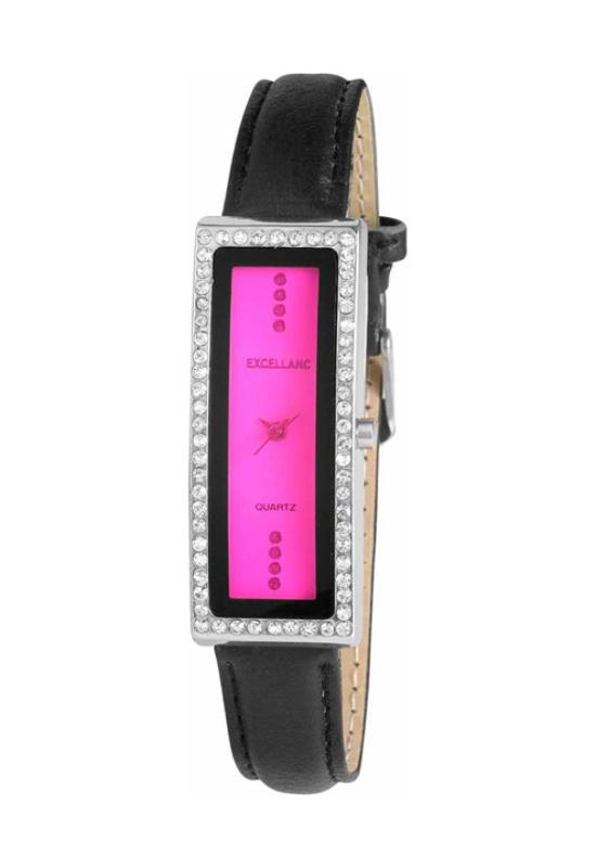 Trendi fekete Excellanc karóra pink számlappal EX18158TR