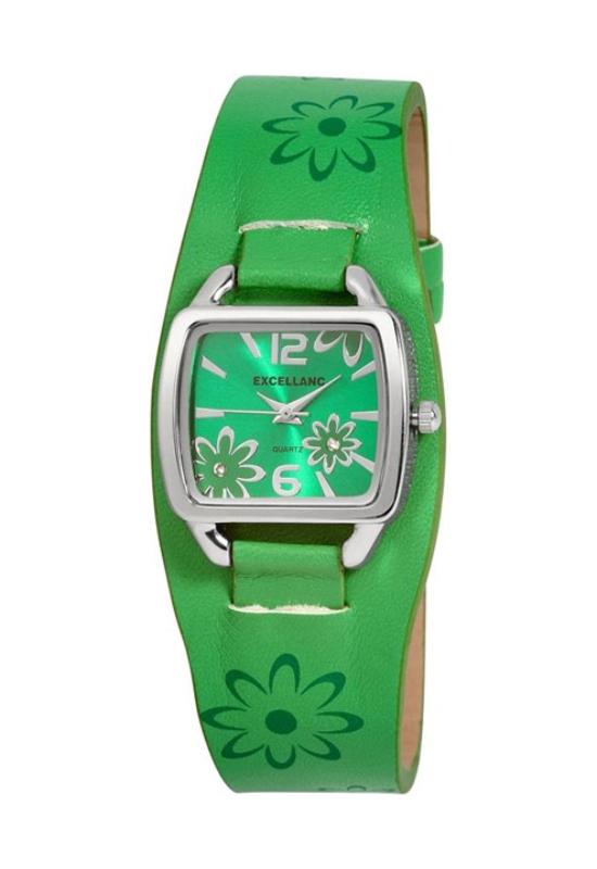 Trendi Excellanc zöld női karóra virágokkal EX18165TR