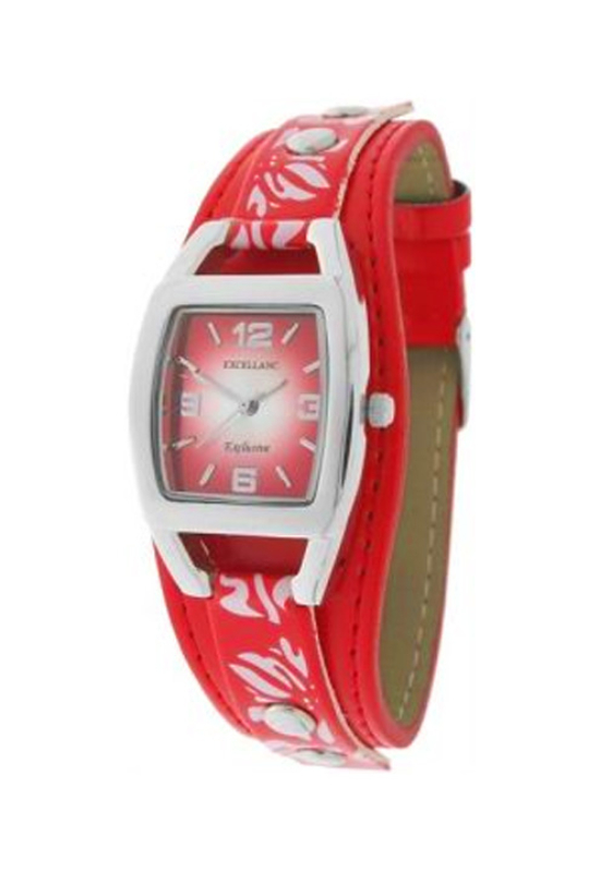 Trendi piros-fehér Excellanc virágos karóra EX18194TR