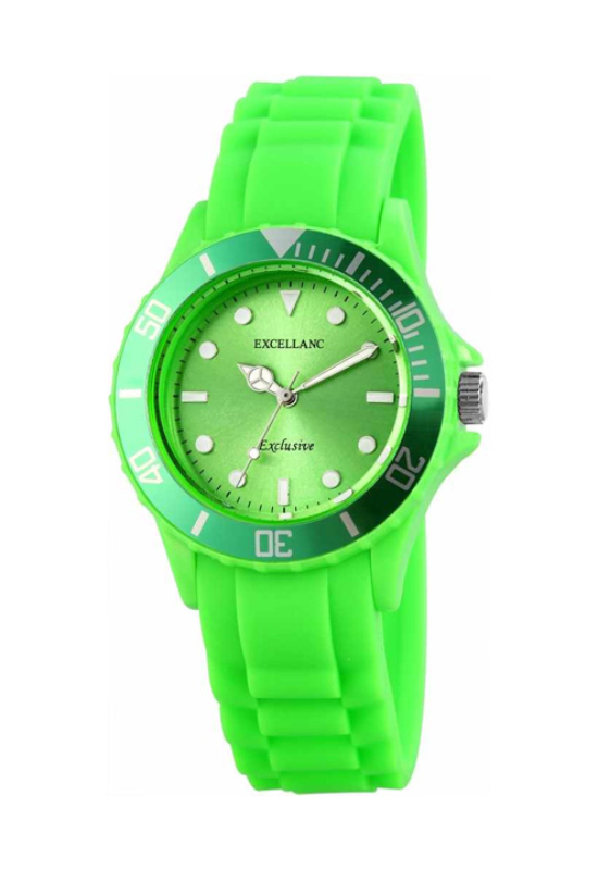 Trendi zöld Excellanc szilikon szíjas női karóra EX18200TR