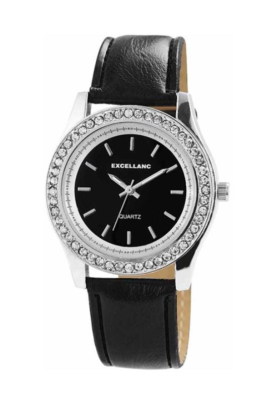 Trendi fekete Excellanc női karóra strasszokkal EX18259TR